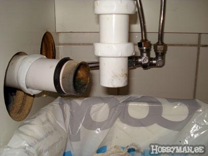 Vattenlåset är bortkopplat