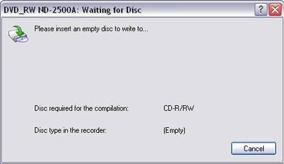 Sätt i en tom cd-r i brännaren